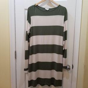 Charming Charlie 🍸Olive Green Stripe Jersey Dress